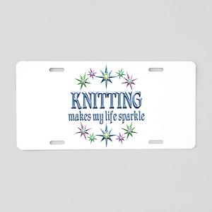 Knitting Sparkles Aluminum License Plate