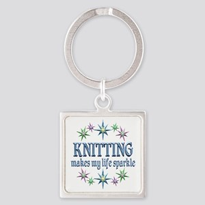 Knitting Sparkles Square Keychain