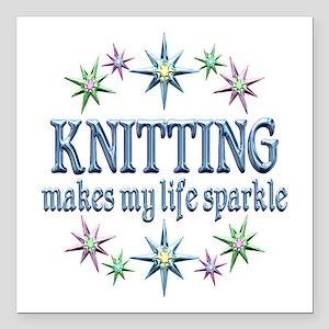 "Knitting Sparkles Square Car Magnet 3"" x 3"""