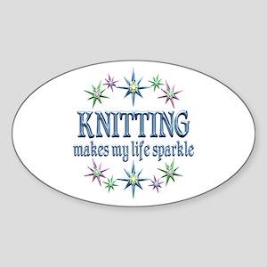 Knitting Sparkles Sticker (Oval)