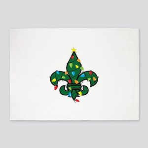 Fleur De Lis Christmas 5'x7'Area Rug