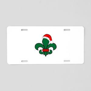 Fleur De Lis Santa Aluminum License Plate