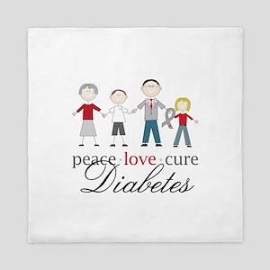 Peace Love Cure Diabetes Queen Duvet