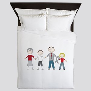Diabetes Stick Figures Queen Duvet