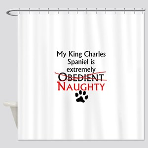 Naughty King Charles Spaniel Shower Curtain