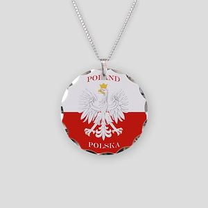 Poland Polska White Eagle Flag Necklace