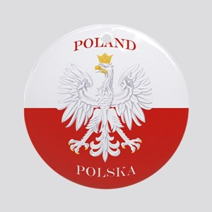 Poland Polska White Eagle Flag Ornament (Round)