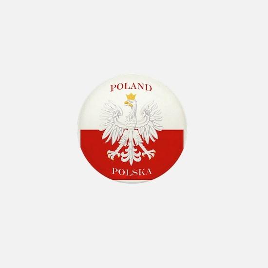 Poland Polska White Eagle Flag Mini Button