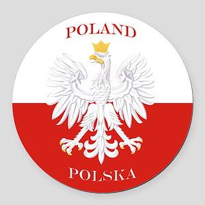 Poland Polska White Eagle Flag Round Car Magnet