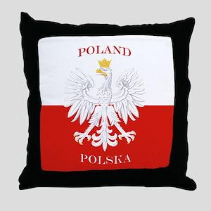 Poland Polska White Eagle Flag Throw Pillow
