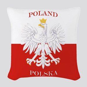 Poland Polska White Eagle Flag Woven Throw Pillow