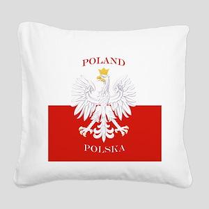 Poland Polska White Eagle Flag Square Canvas Pillo