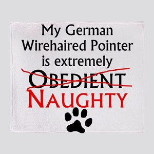 Naughty German Wirehaired Pointer Throw Blanket