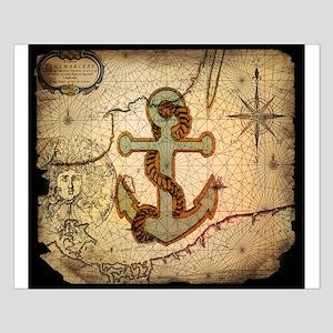 seashells nautical map vintage anchor Small Poster