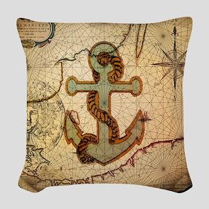 seashells nautical map vintage anchor Woven Throw