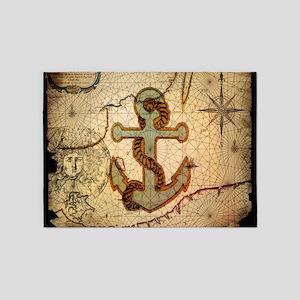 seashells nautical map vintage anchor 5'x7'Area Ru