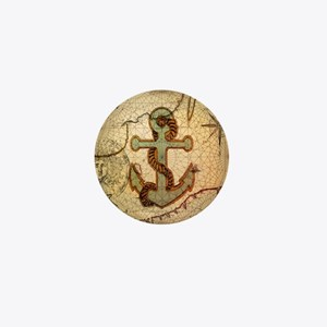 seashells nautical map vintage anchor Mini Button
