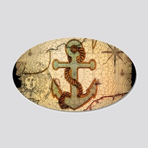 seashells nautical map vintage anchor Decal Wall S