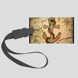 seashells nautical map vintage anchor Large Luggag