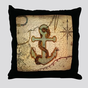 seashells nautical map vintage anchor Throw Pillow