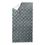 Gray Diamond Plate Pattern Beach Towel