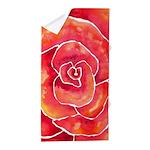 Red-Orange Rose Watercolor Beach Towel