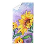 Sunny Sunflowers Watercolor Beach Towel