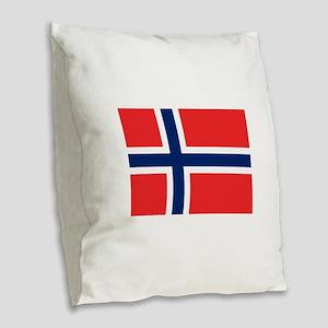 Flag of Norway Burlap Throw Pillow