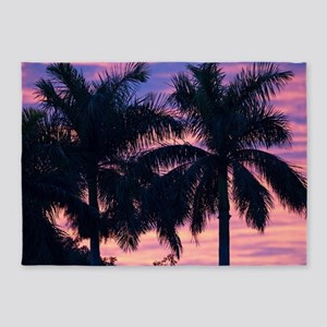 Palm Trees and Sunset 5'x7'Area Rug