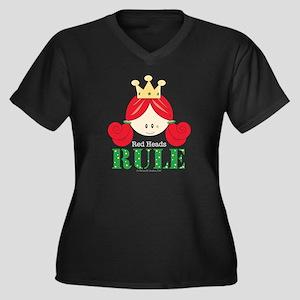Red Heads Rule Women's V-Neck Dark T-Shirt