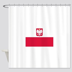 Polish Flag Coat of Arms Shower Curtain