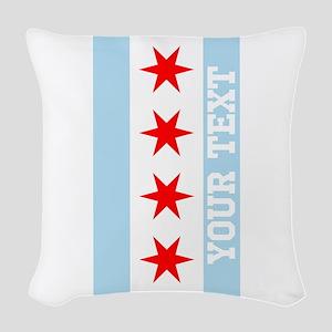 Monogram Chicago Flag Woven Throw Pillow