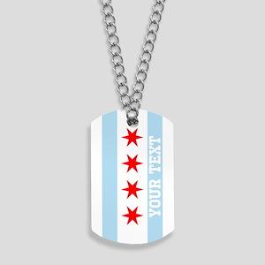 Monogram Chicago Flag Dog Tags