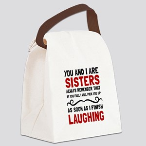 Sisters Laughing Canvas Lunch Bag