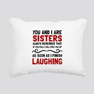 Sisters Laughing Rectangular Canvas Pillow