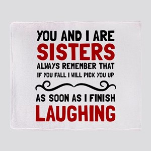 Sisters Laughing Throw Blanket