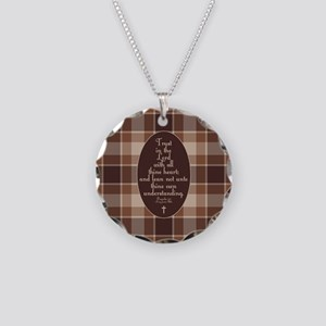 Proverbs 3:5 Bible Verse Necklace Circle Charm