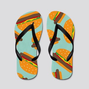 Cute Burger Pattern Flip Flops
