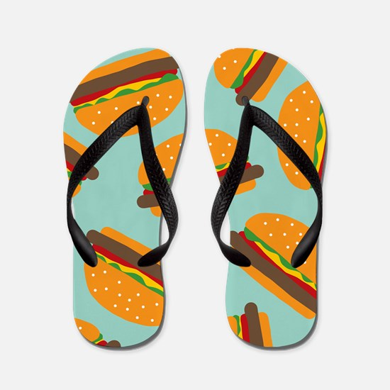 Cute Burger Pattern Flip Flops