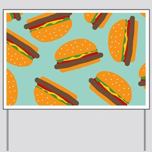 Cute Burger Pattern Yard Sign
