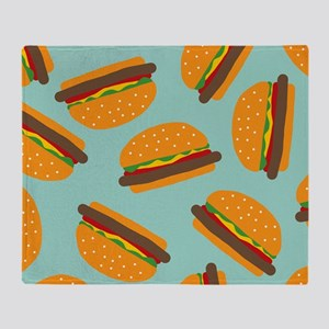 Cute Burger Pattern Throw Blanket