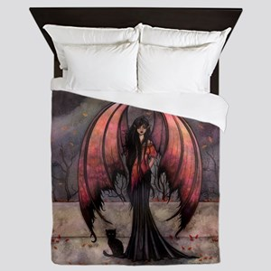 Autumn Mystique Gothic Fairy and Cat Art Queen Duv