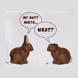 Chocolate Easter Bunny Rabbits Butt Hurts Throw Bl