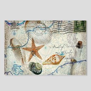 seashells nautical map vintage anchor Postcards (P