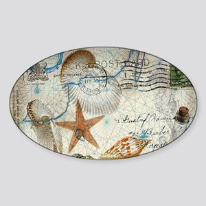 seashells nautical map vintage anchor Sticker