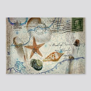 seashells nautical map vintage anchor 5'x7'Area Ru