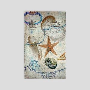 seashells nautical map vintage anchor 3'x5' Area R