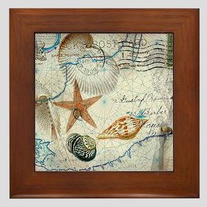 seashells nautical map vintage anchor Framed Tile