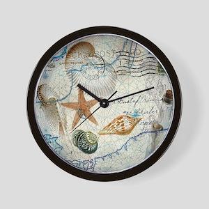 seashells nautical map vintage anchor Wall Clock