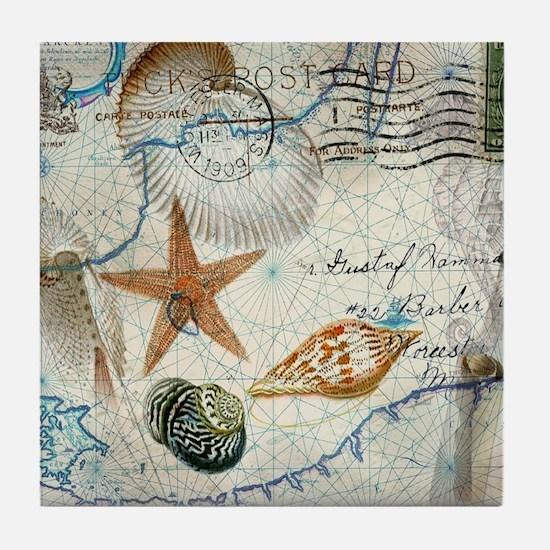seashells nautical map vintage anchor Tile Coaster